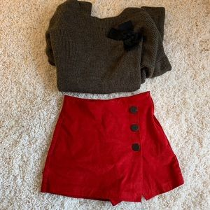 Zara faux suede contrasting red shorts xs US 0